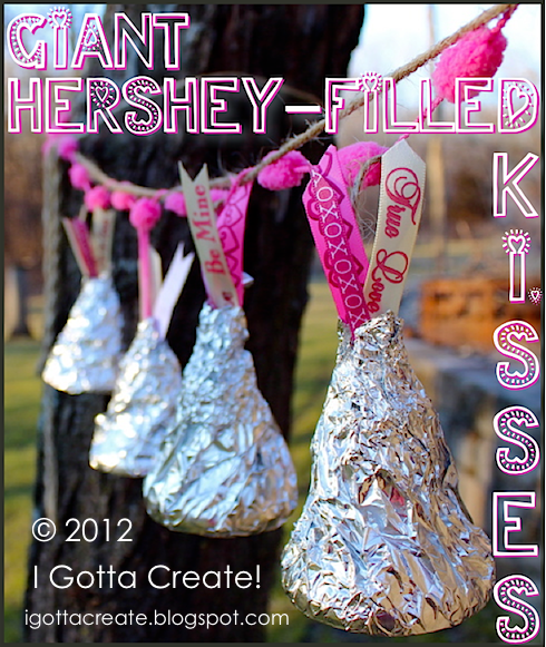 DIY giant hollow Kisses that you can fill for #Valentines Day! | #recycling project at I Gotta Create!