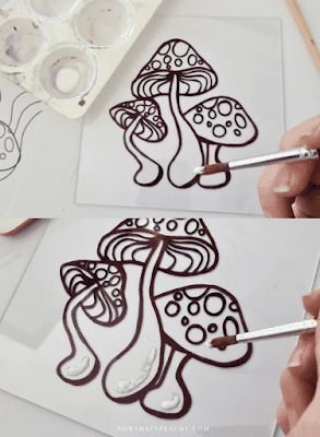 Glass Painting DIY Tik Tok craft trend Mushroom 60s hippie how to reverse collage crafting art glass paint tutorial