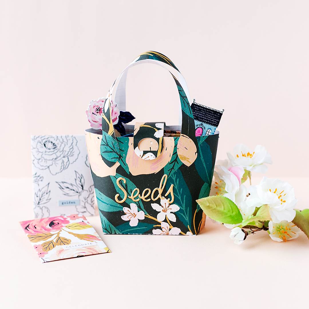 Stylish Seed Organizer a paper hand bag with seed pockets