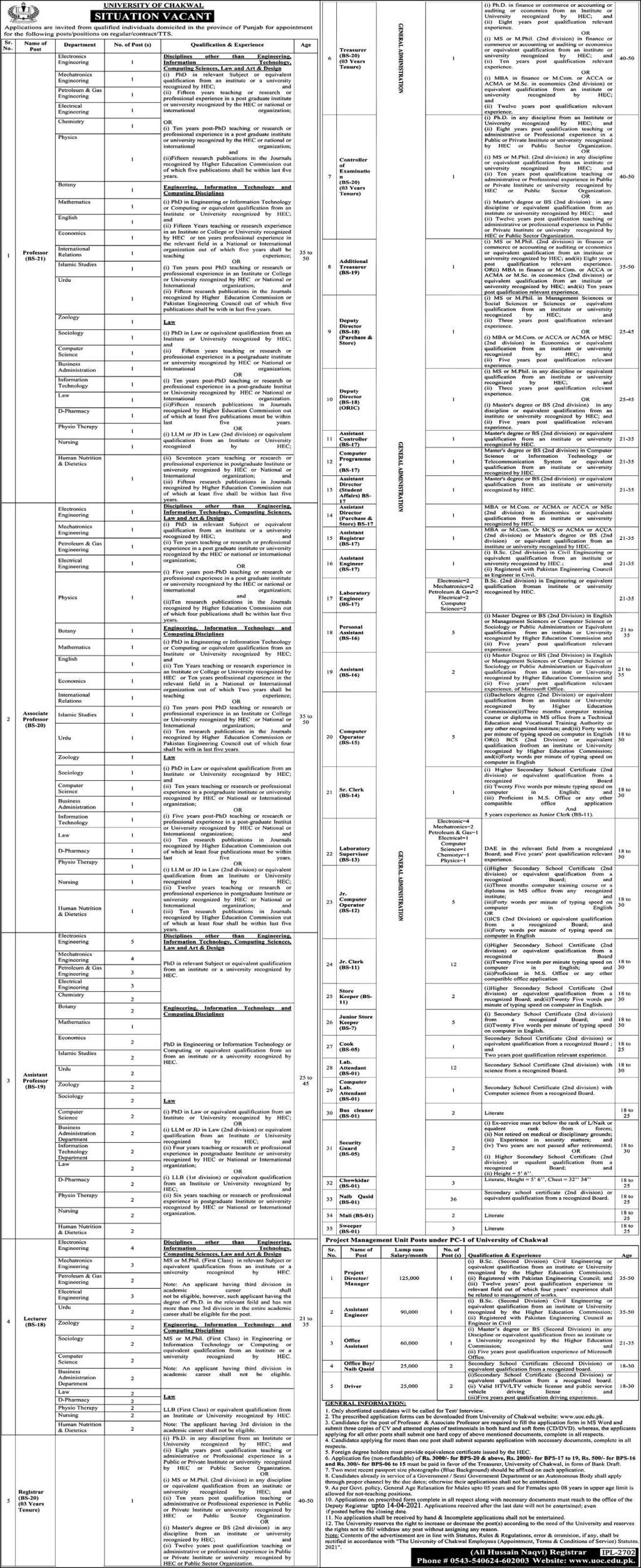 University of Chakwal Jobs Advertisment 2021