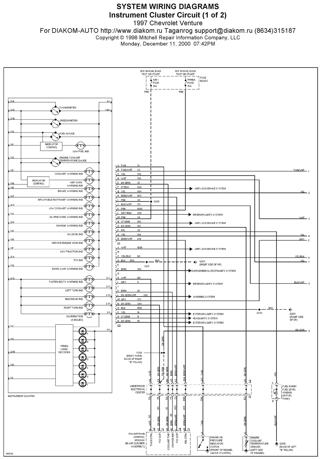 1997 Chevrolet Venture Instrument Cluster Circuit System