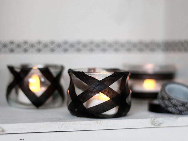 Photophores avec bougies chauffe plat