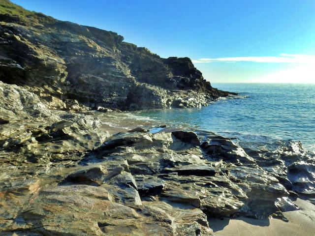 Cliffs and rocks at Carlyon Bay, Cornwall