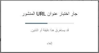 لقطة شاشة تحوي جملة اختبار عنوان URL المنشور وقد يستغرق الأمر دقيقة أو دقيقتين