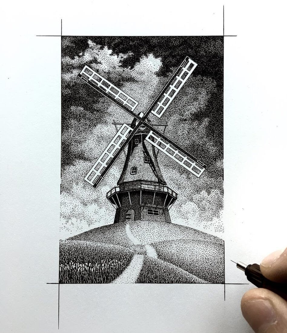 08-The-Windmill-Nicholas-Baker-Stippling-Black-and-White-Drawings-www-designstack-co