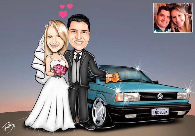 #rabisqueiro #ricksucaricaturas #imagem #arte #foto #retrato #lembrança #noivos #carros #rodas #volante #direção