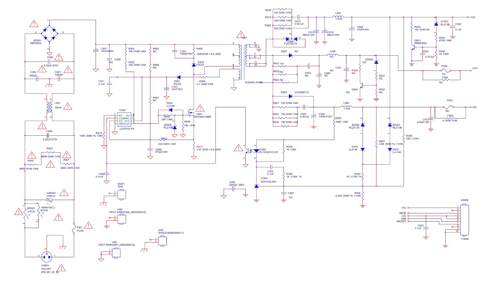 BenQ LCD G922HD  MAIN POWER SUPPLY  SCHEMATIC DIAGRAM