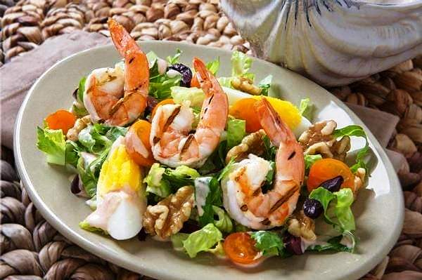 Grilled Shrimp with Caesar Salad and Creamy Dressing - 2