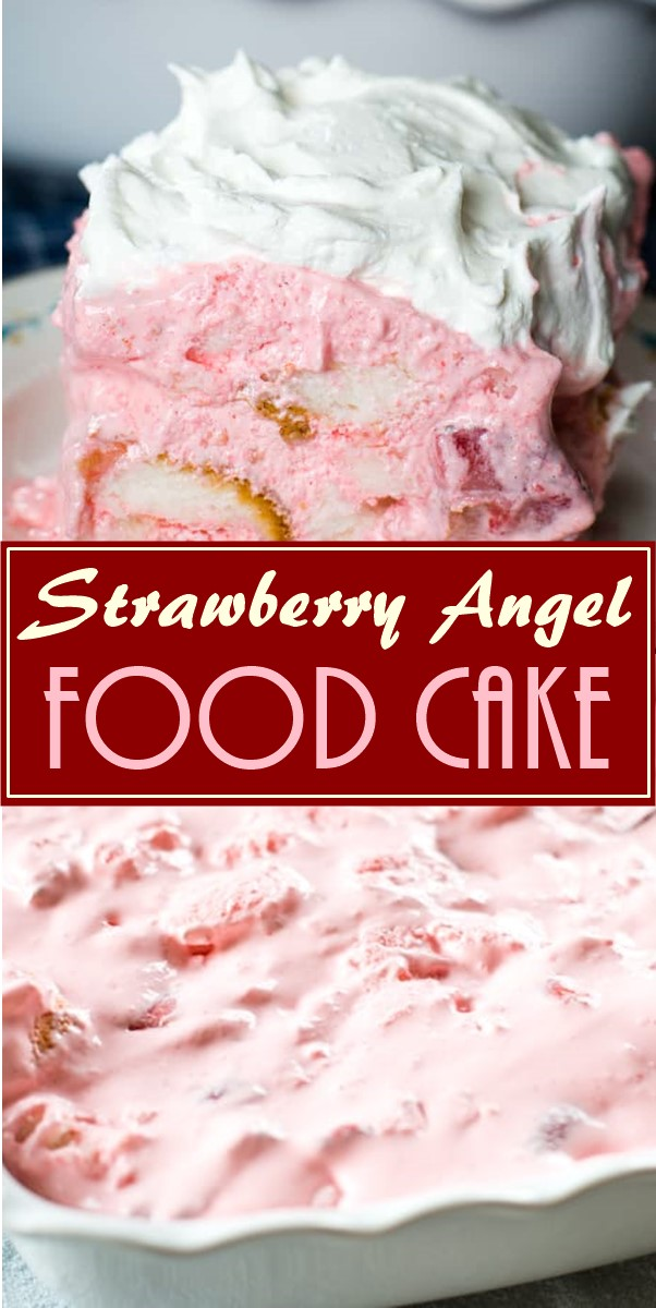Strawberry Angel Food Cake #dessertrecipes