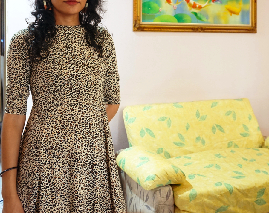 Long sleeve leopard print mini dress