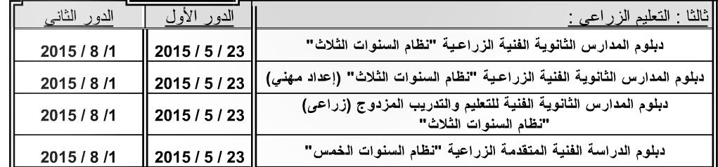 """ننشر جدول ومواعيد امتحانات المدارس الثانويه الفنيه الزراعيه 2015 """"نظام الثلاث سنوات"""""""
