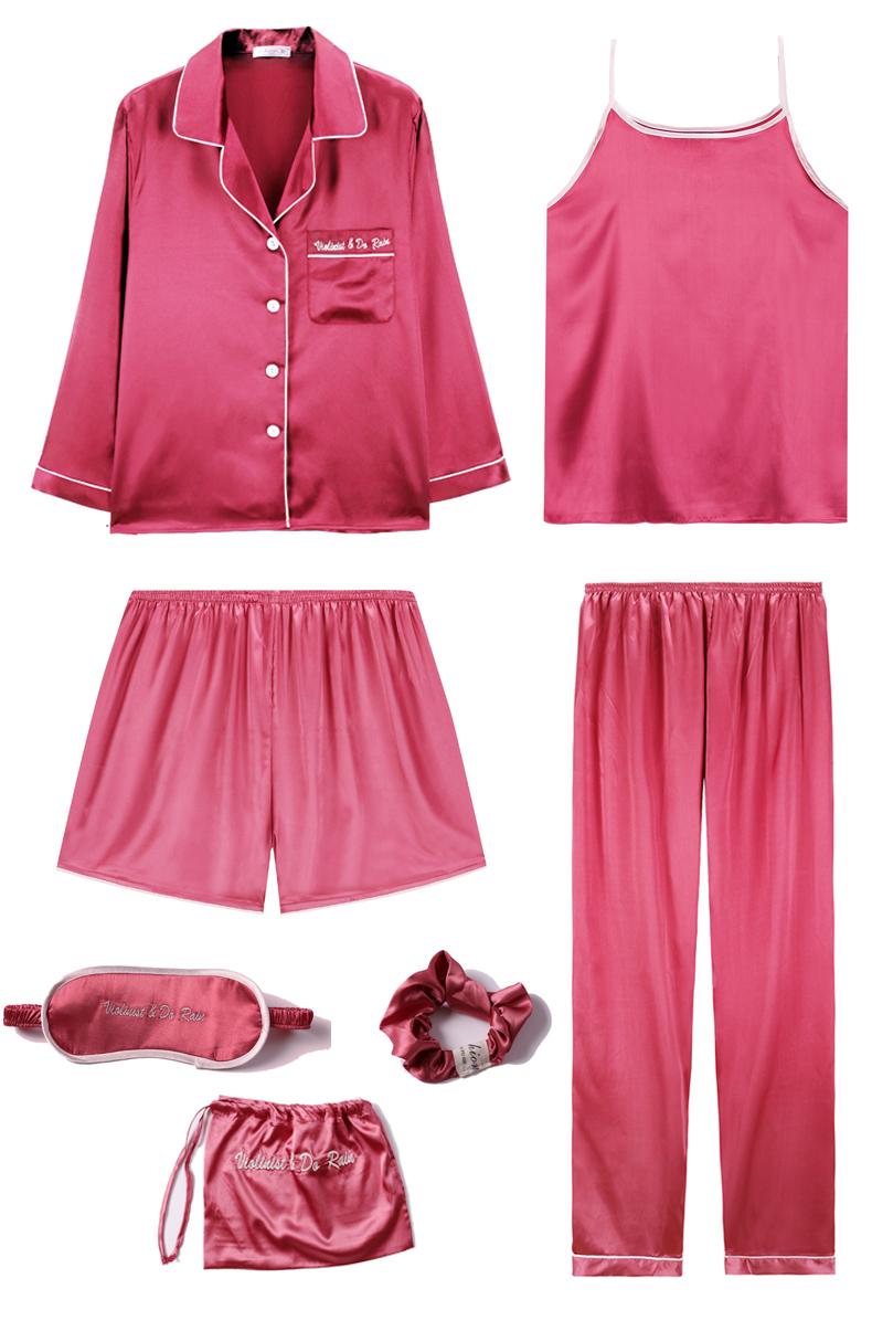 Bộ Pijama ngủ 7 chi tiết bằng lụa mặc nhà dễ thương 3