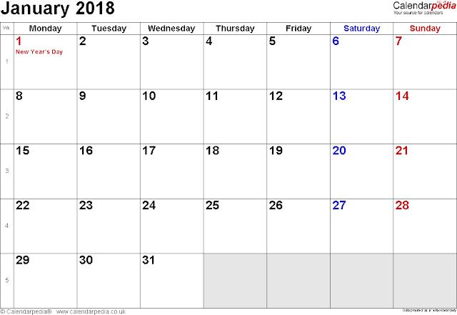 January 2018 Calendar, Free January 2018 Calendar, Blank January 2018 Calendar, Printable January 2018 Calendar, January 2018 Calendar Template