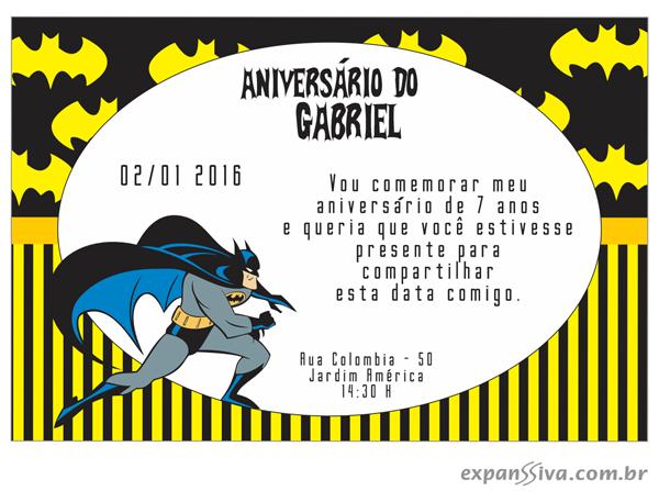 convite batman personalizado