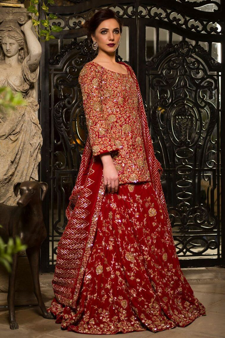 Buy this elegant Pakistani wedding dress by Nida Azwer bridal dresses for reception at a decent price