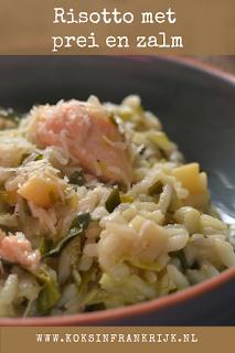 Recept voor heerlijke, romige risotto met zalm en prei.