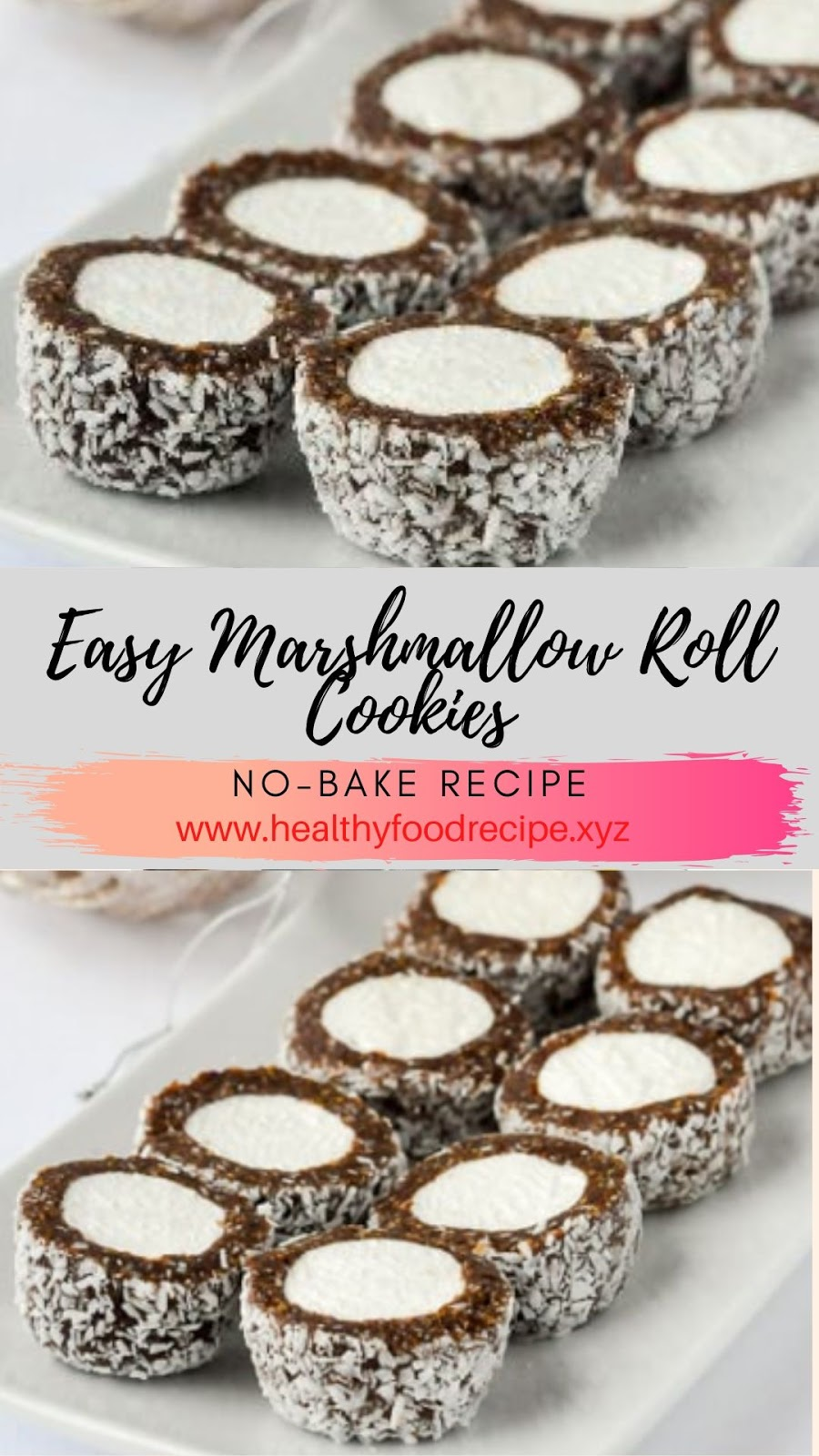 Easy Marshmallow Roll Cookies No-Bake Recipe