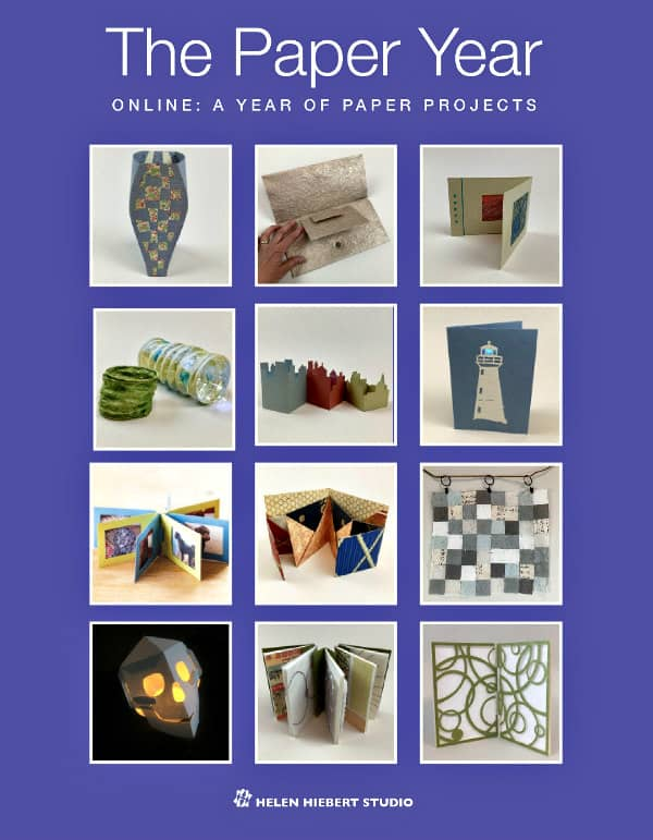 grid showing twelve paper craft projects included in an onlince class