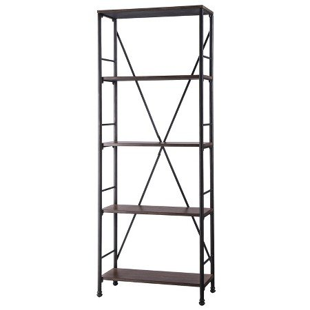 Mixed Material Wood And Metal Bookcase