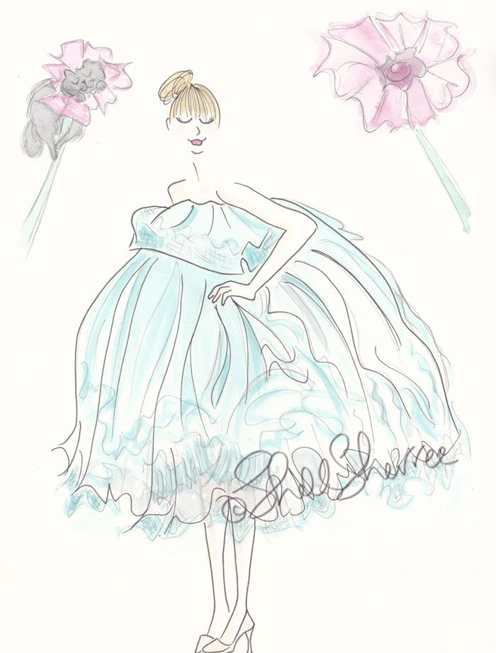 Flower Gown in Aqua and Kitty Camouflage fashion illustration  © Shell Sherree all rights reserve