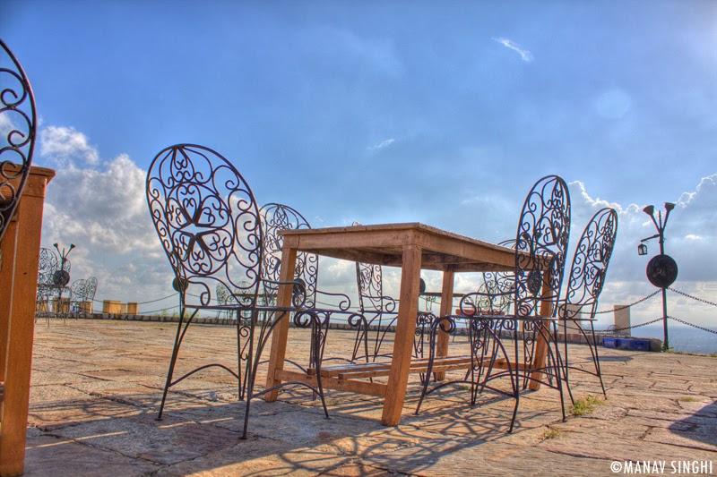 Sitting area at Padao Open Air Bar/Restaurant NaharGarh Fort, Jaipur.