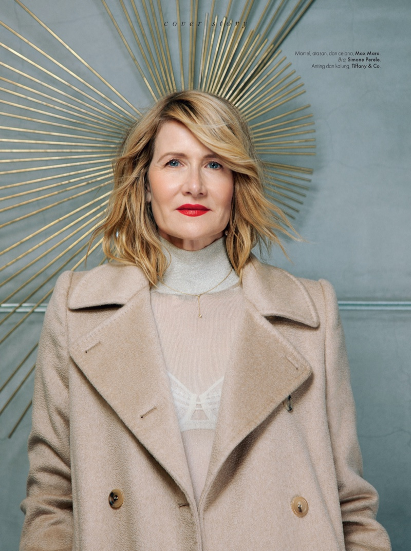 Photographed by Thom Kerr, Laura Dern wears Max Mara coat and sweater with Simone Perele bra