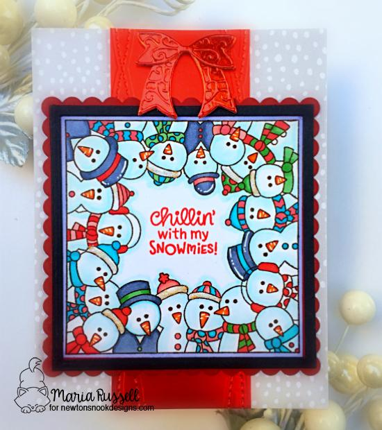 Snowman card by Maria Russell | Snowman Party Stamp Set and Frames Squared Die Set by Newton's Nook Designs #newtonsnook #handmade