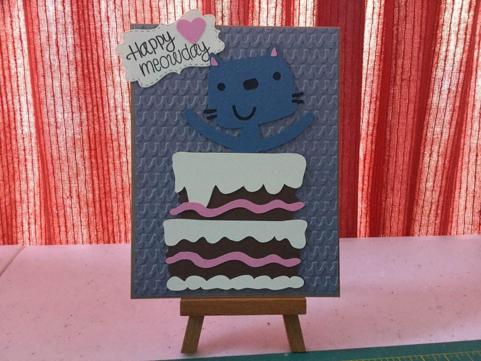 crazy cat lady craft cricut kitty card happy meowday