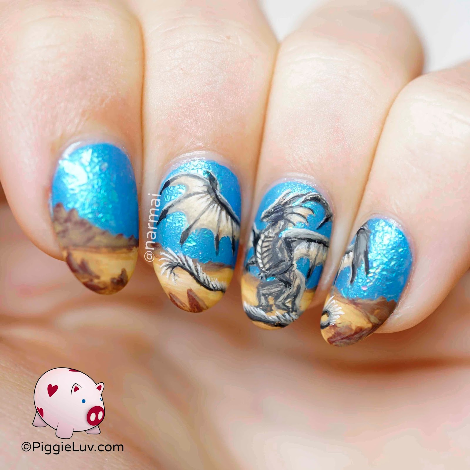 Piggieluv Desert Dragon Nail Art
