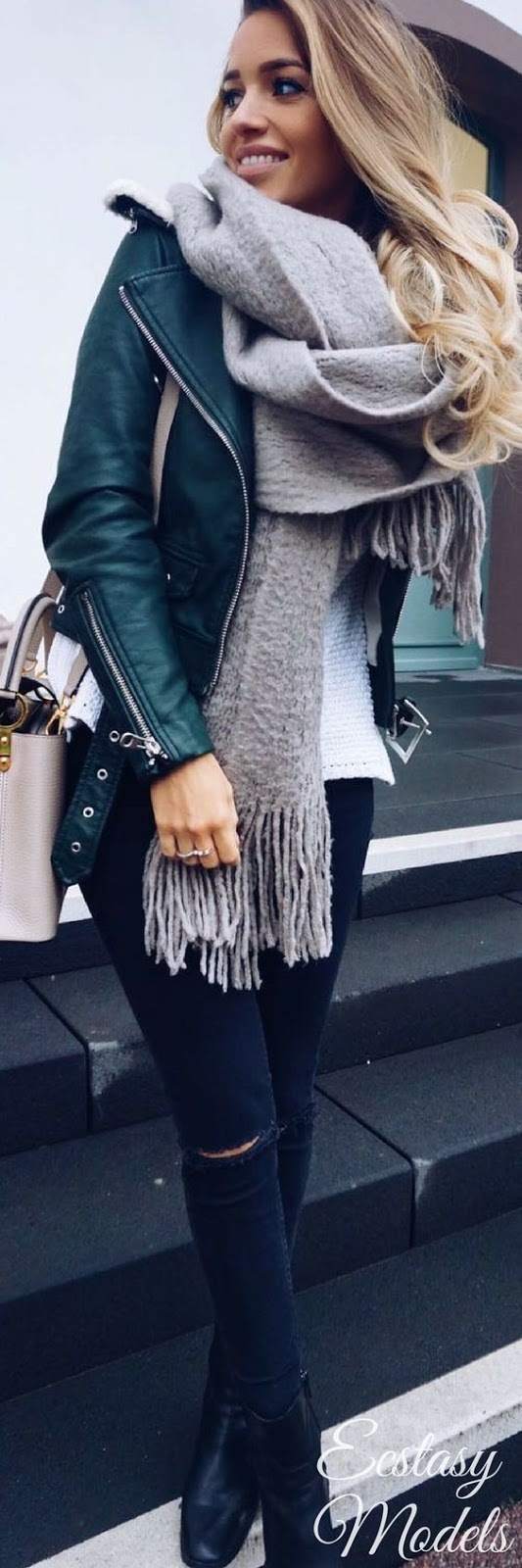 street style perfection / sweater + scarf + moto jacket + bag + black skinnies