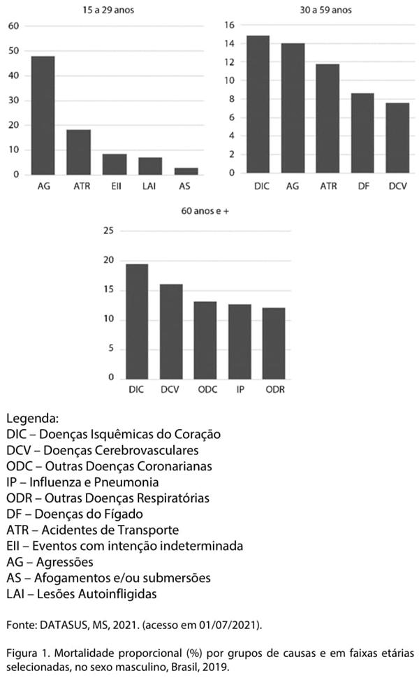 A figura a seguir apresenta a mortalidade proporcional por alguns grupos de causa no sexo masculino e em grupos etários selecionados.