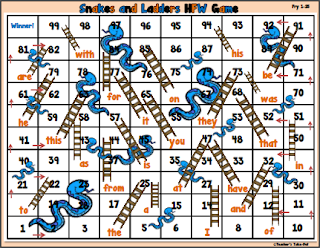 HFW Snakes and Ladders Phonics Game