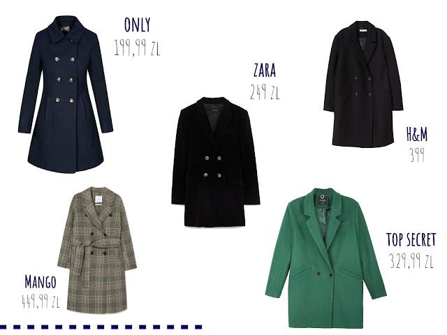 dwurzędowy płaszcz, trendy, sieciówki