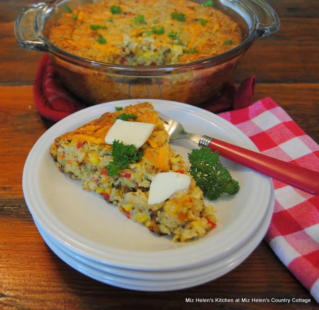 Dinner Garden Veggie Cornbread Casserole at Miz Helen's Country Cottage