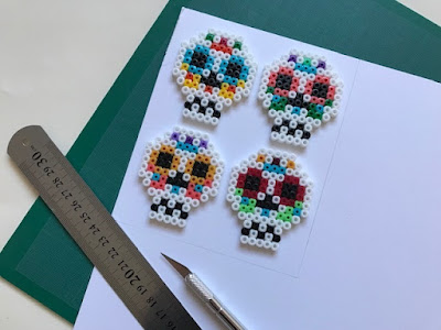 Making a Hama bead picture for Halloween