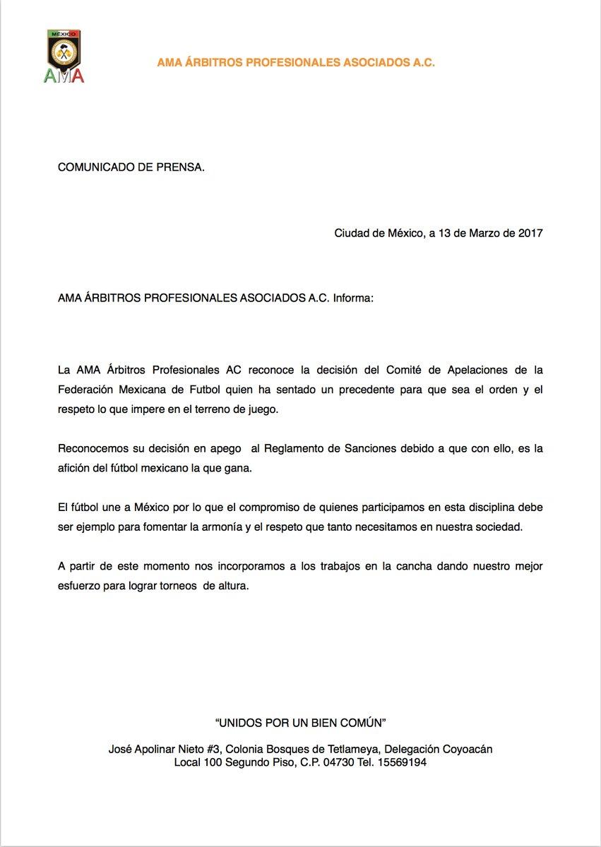 El comunicado de la Asociación Mexicana de Árbitros.