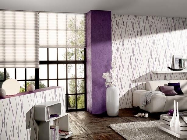 Diseño de sala morada y plata