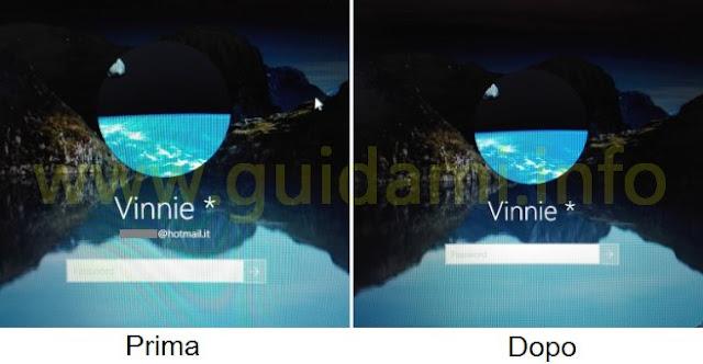 Windows 10 con e senza email utente nella schermata di accesso