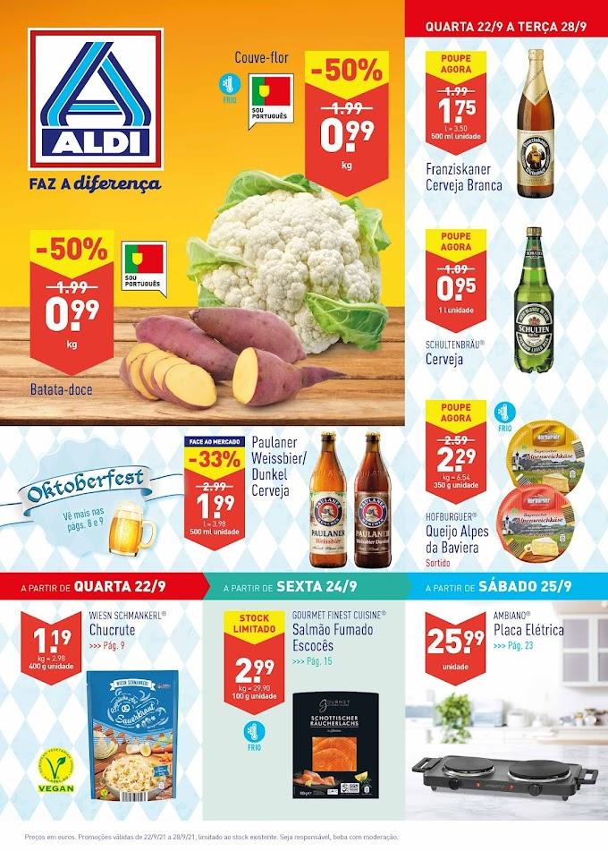 """Folheto ALDI  semanal """"Faz a diferença"""" com Promoções de 22 a 28 de setembro"""