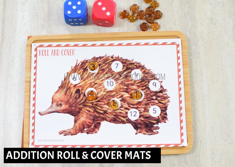Oceania Australia Themed Math - Addition Roll and Cover Mats