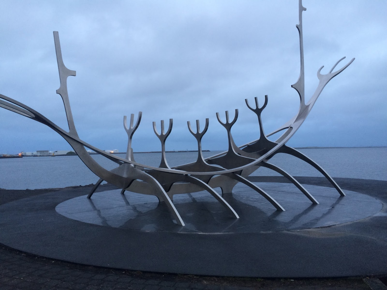 Sculpture in Reykjavik, Iceland with view on the sea