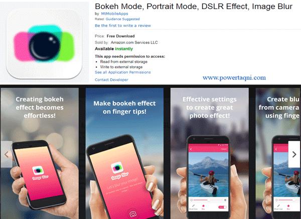 """9. تطبيق """"Bokeh Mode, Portrait Mode, DSLR Effect, Image Blur"""""""
