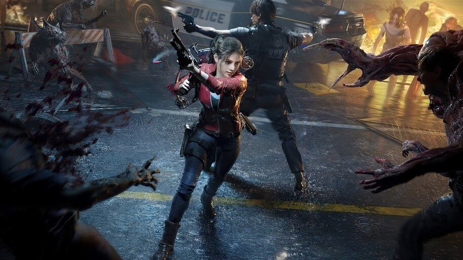 Claire Redfield, Leon S. Kennedy vs. Zombies, Resident Evil 2 Remake, 4K, #3.2784