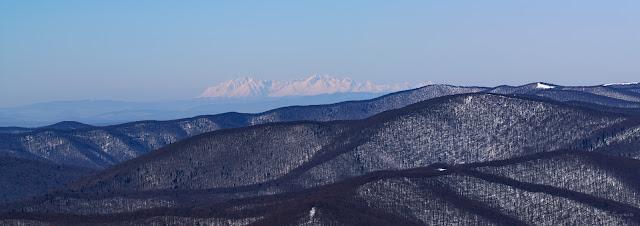 Daleka obserwacja Tatr z Tarnicy w Bieszczadach