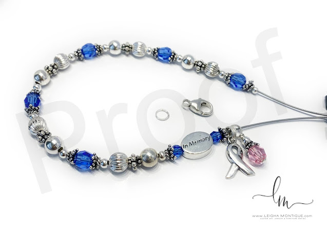 Colon Cancer In Memory Bracelet with a Pink Crystal Dangle and Ribbon Charm