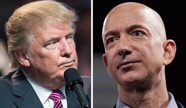 Donald Trump continuou a sua ofensiva de um ano contra o CEO da Amazon, Jeff Bezos.