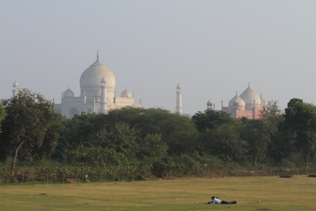 What a place to read a book - Taj Mahal in the background, Agra