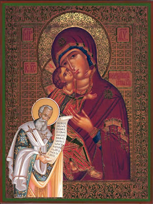 San Atanasio con vestiduras de obispo griego lee ante la Imagen de la Virgen Maria.