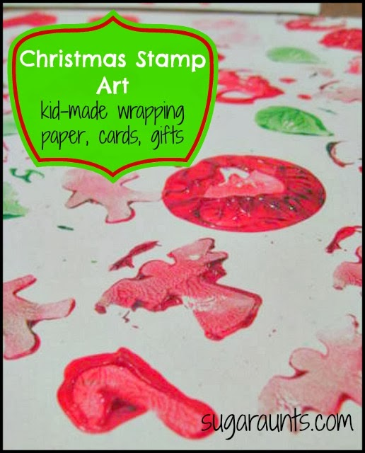 Christmas Stamp Art for kid-made wrapping paper, cards, and gifts