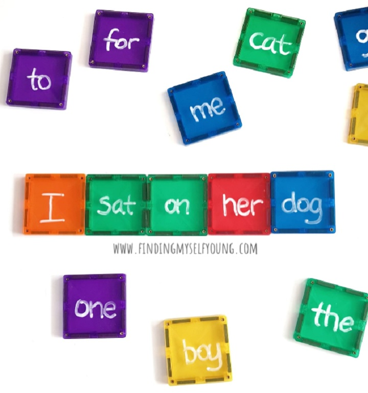 magnetic tile silly sentences using sight words